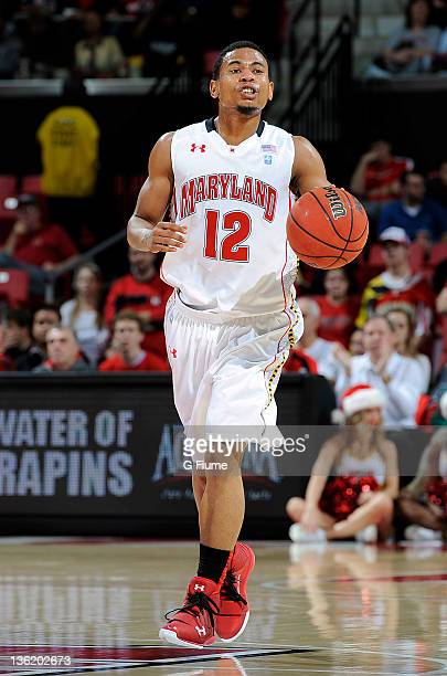 Terrell Stoglin of the Maryland Terrapins handles the ball against the Radford Highlanders at the Comcast Center on December 23 2011 in College Park...
