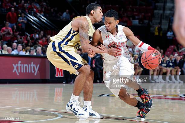 Terrell Stoglin of the Maryland Terrapins handles the ball against the Georgia Tech Yellow Jackets at the Comcast Center on January 15 2012 in...