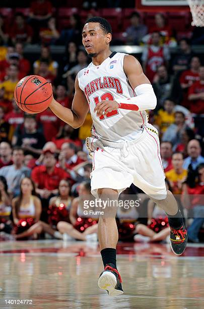 Terrell Stoglin of the Maryland Terrapins handles the ball against the Miami Hurricanes at the Comcast Center on February 21 2012 in College Park...