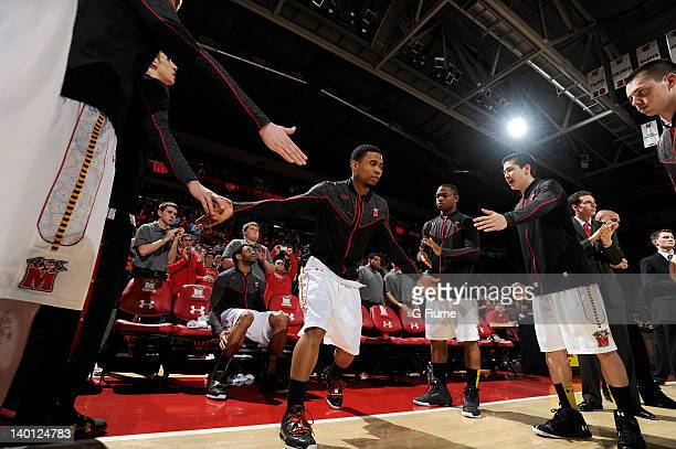 Terrell Stoglin of the Maryland Terrapins is introduced before the game against the Miami Hurricanes at the Comcast Center on February 21 2012 in...