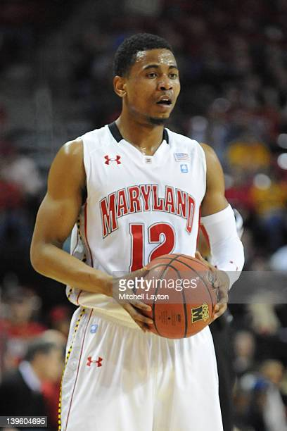 Terrell Stoglin of the Maryland Terrapins looks on during a college basketball game against the Miami Hurricanes on February 21 2012 at the Comcast...