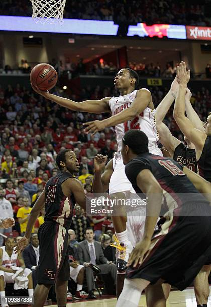 Terrell Stoglin of the Maryland Terrapins puts up a shot against the Florida State Seminoles at the Comast Center on February 23 2011 in College Park...