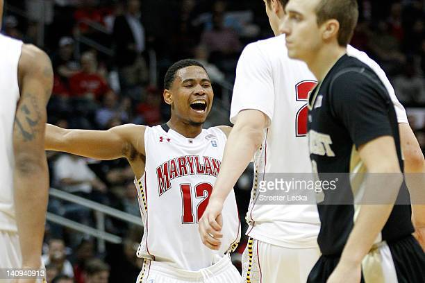Terrell Stoglin of the Maryland Terrapins reacts against the Wake Forest Demon Deacons during their first round game of 2012 ACC Men's Basketball...