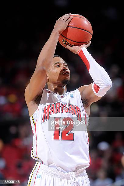 Terrell Stoglin of the Maryland Terrapins shoots a free throw against the Georgia Tech Yellow Jackets at the Comcast Center on January 15 2012 in...