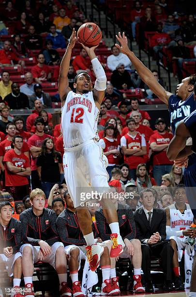 Terrell Stoglin of the Maryland Terrapins shoots a jumpshot against the UNCW Seahawks at the Comcast Center on November 13 2011 in College Park...