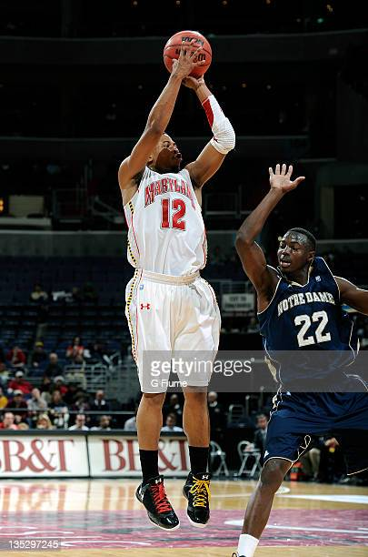 Terrell Stoglin of the Maryland Terrapins shoots a jumpshot against the Notre Dame Fighting Irish during the BBT College Basketball Classic at the...