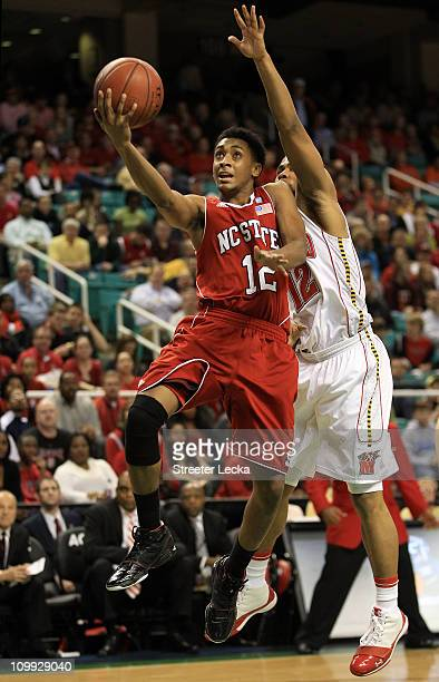 Terrell Stoglin of the Maryland Terrapins shoots against Ryan Harrow of the North Carolina State Wolfpack during the second half of the game in the...