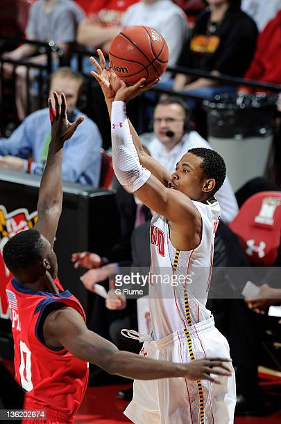 Terrell Stoglin of the Maryland Terrapins shoots the ball against the Radford Highlanders at the Comcast Center on December 23 2011 in College Park...
