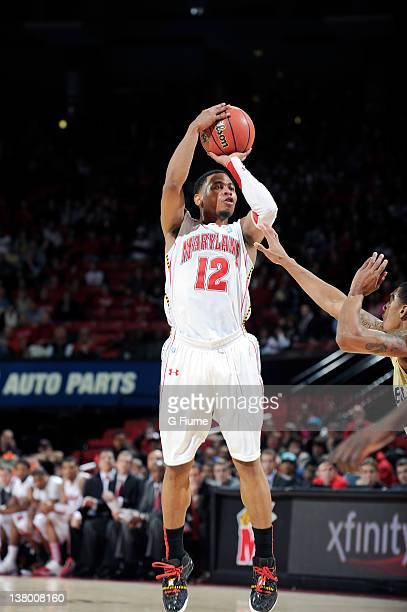 Terrell Stoglin of the Maryland Terrapins shoots the ball against the Georgia Tech Yellow Jackets at the Comcast Center on January 15 2012 in College...