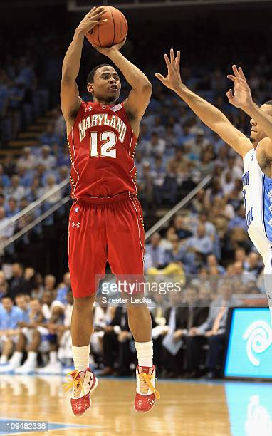 Terrell Stoglin of the Maryland Terrapins shoots the ball over Kendall Marshall of the North Carolina Tar Heels during their game at the Dean E Smith...