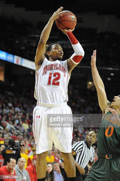 Terrell Stoglin of the Maryland Terrapins takes a jump shot during a college basketball game against the Miami Hurricanes on February 21 2012 at the...