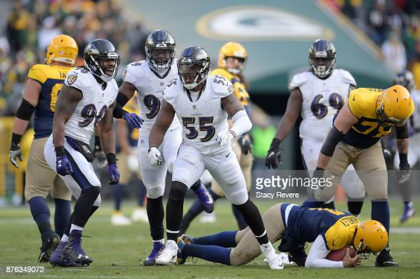 Terrell Suggs of the Baltimore Ravens celebrates after a sack of Brett Hundley of the Green Bay Packers during the second half of a game at Lambeau...