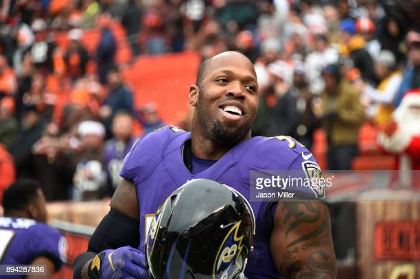 Terrell Suggs of the Baltimore Ravens is seen before the game against the Cleveland Browns at FirstEnergy Stadium on December 17 2017 in Cleveland...