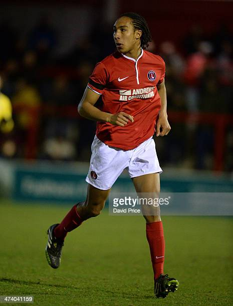 Terrell Thomas of Charlton during the FA Youth Cup 5th Round match between Charlton Athletic and Arsenal at Ebbsfeet United on February 21 2014 in...