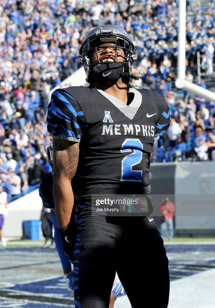 Terrell 'TJ' Carter #2 of the Memphis Tigers celebrates against the East Carolina Pirates on November 25, 2017 at Liberty Bowl Memorial Stadium in Memphis, Tennessee.