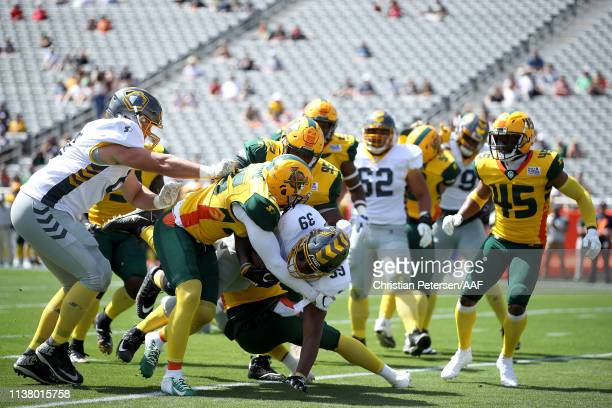 Terrell Watson of the San Diego Fleet scores a rushing touchdown against the Arizona Hotshots during the first half of the Alliance of American...