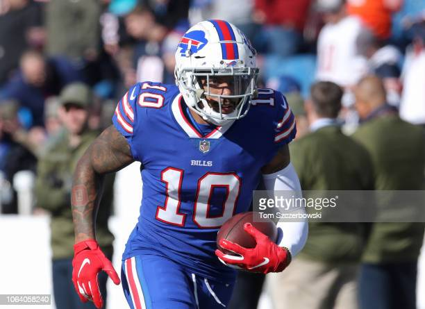 Terrelle Pryor of the Buffalo Bills warms up before the start of NFL game action against the Chicago Bears at New Era Field on November 4 2018 in...