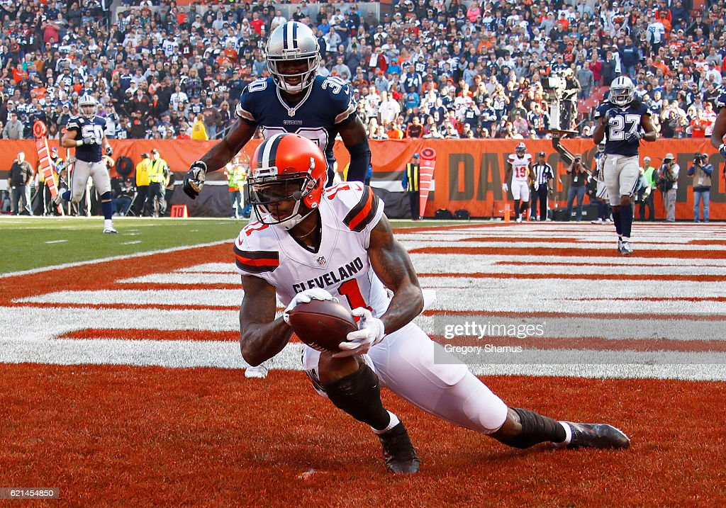 Terrelle Pryor #11 of the Cleveland Browns catches a 12 yard touchdown pass in the first half against the Dallas Cowboys at FirstEnergy Stadium on November 6, 2016 in Cleveland, Ohio.