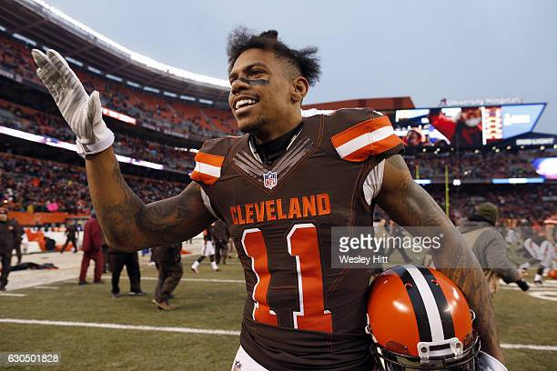 Terrelle Pryor of the Cleveland Browns celebrates after defeating the San Diego Chargers 2017 at FirstEnergy Stadium on December 24 2016 in Cleveland...