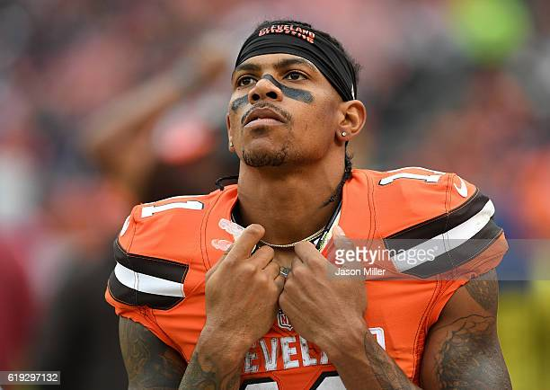Terrelle Pryor of the Cleveland Browns looks on during the fourth quarter against the New York Jets at FirstEnergy Stadium on October 30 2016 in...