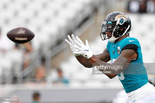 Terrelle Pryor of the Jacksonville Jaguars catches a pass before the start of a preseason game against the Philadelphia Eagles at TIAA Bank Field on...