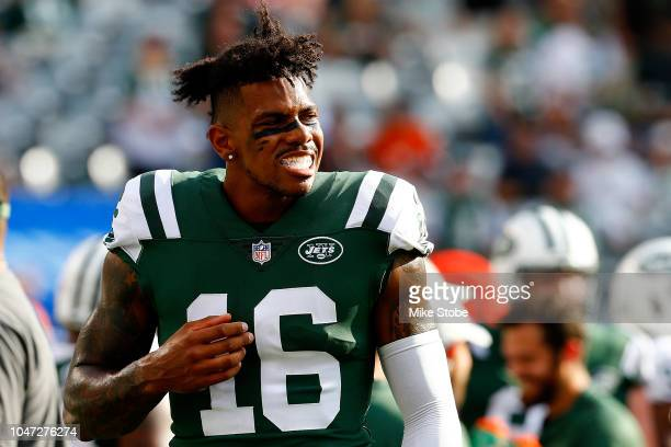 Terrelle Pryor of the New York Jets looks on from the bench against the Denver Broncos at MetLife Stadium on October 7 2018 in East Rutherford New...