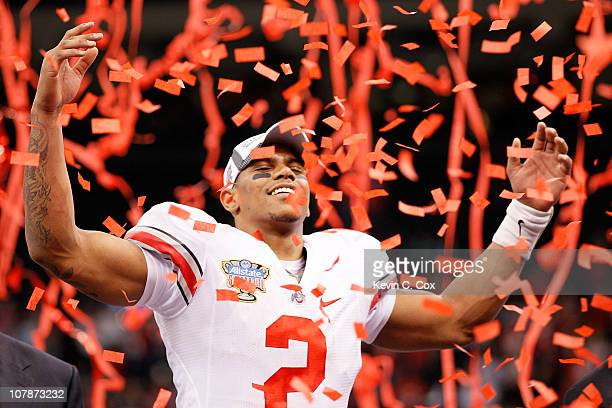 Terrelle Pryor of the Ohio State Buckeyes celebrates the Buckeyes 3126 victory against the Arkansas Razorbacks during the Allstate Sugar Bowl at the...