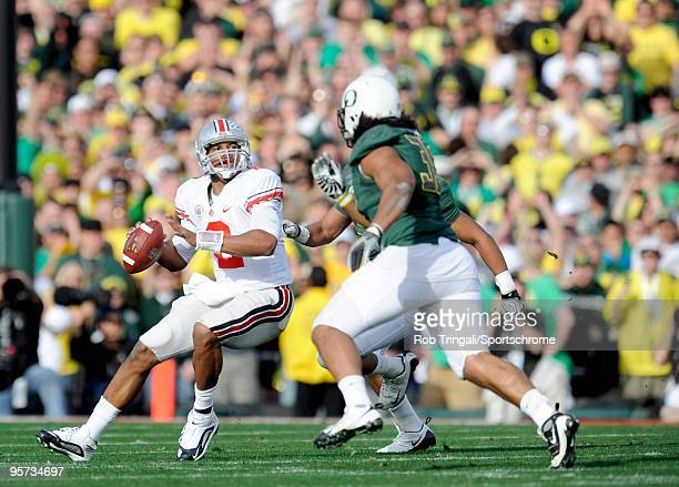 Terrelle Pryor of the Ohio State Buckeyes drops back to pass against the Oregon Ducks in the 96th Rose Bowl played on January 1 2010 in Pasadena...