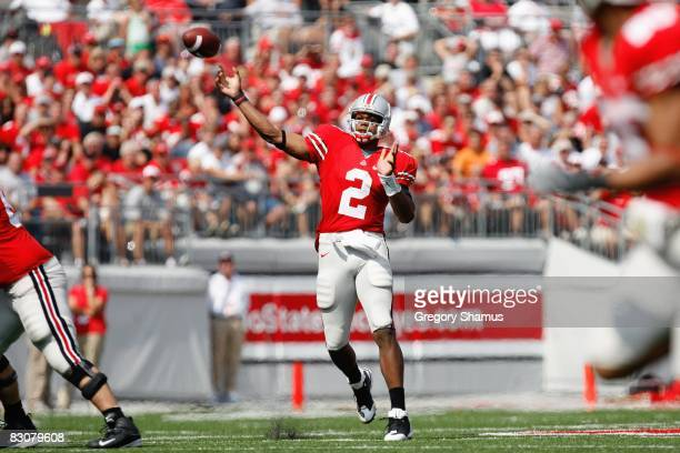 Terrelle Pryor of the Ohio State Buckeyes passes the ball downfield during the game against the Troy Trojans on September 20 2008 at Ohio Stadium in...