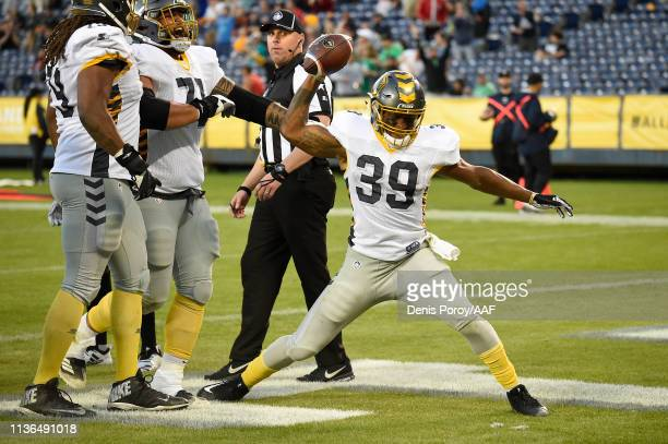 TerrellWatson of the San Diego Fleet celebrates after scoring a touchdown during the third quarter against the Birmingham Iron in an Alliance of...
