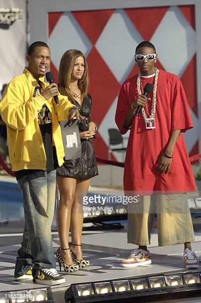 Terrence and Rocsi from BET's 106 Park and rapper Soulja Boy attend the 106 Park preshow before the BET Hip Hop Awards 2007 at the Atlanta Civic...