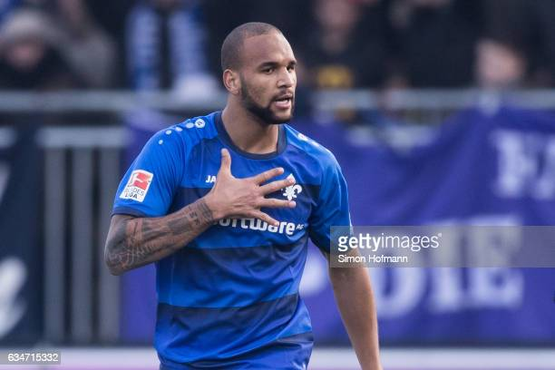 Terrence Boyd of Darmstadt celebrates his team's first goal during the Bundesliga match between SV Darmstadt 98 and Borussia Dortmund at Jonathan...