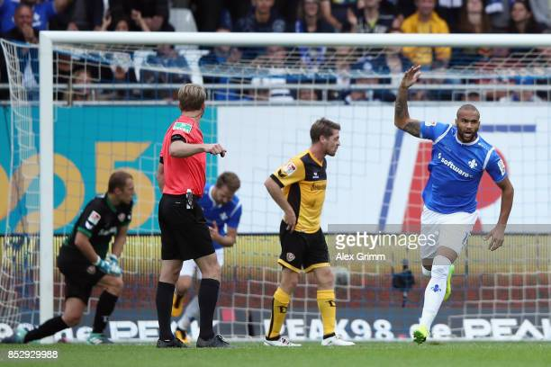 Terrence Boyd of Darmstadt celebrates his team's second goal during the Second Bundesliga match between SV Darmstadt 98 and SG Dynamo Dresden at...