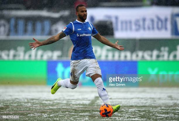 Terrence Boyd of Darmstadt reacts during the Second Bundesliga match between SV Darmstadt 98 and SSV Jahn Regensburg at JonathanHeimesStadion am...
