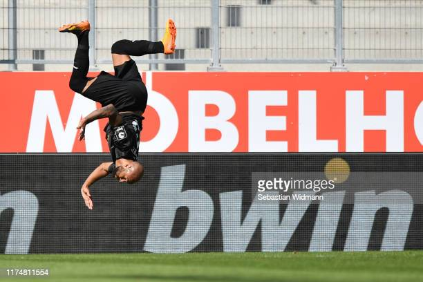 Terrence Boyd of Hallescher FC celebrates after scoring his team's third goal during the 3. Liga match between FC Ingolstadt and Hallescher FC at...
