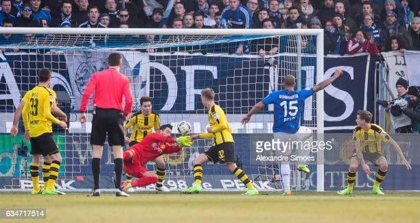 Terrence Boyd of SV Darmstadt 98 scores the opening goal during the Bundesliga match between SV Darmstadt 98 and Borussia Dortmund at the Stadion am...