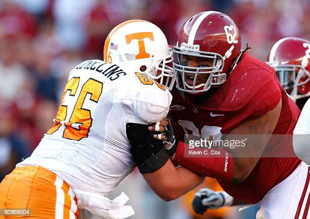 Terrence Cody of the Alabama Crimson Tide against Cody Sullins of the Tennessee Volunteers at BryantDenny Stadium on October 24 2009 in Tuscaloosa...