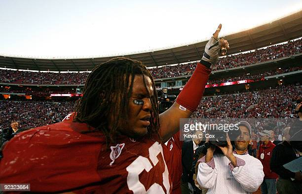 Terrence Cody of the Alabama Crimson Tide celebrates after blocking the gamewinning field goal in their 1210 win over the Tennessee Volunteers at...