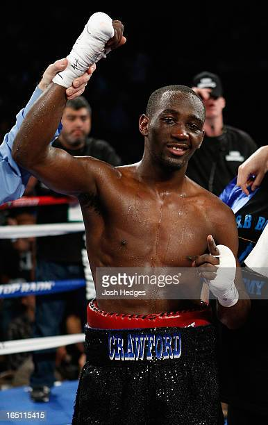 Terrence Crawford reacts after defeating Bredis Prescott in their junior welterweight bout at the Mandalay Bay Events Center on March 30 2013 in Las...
