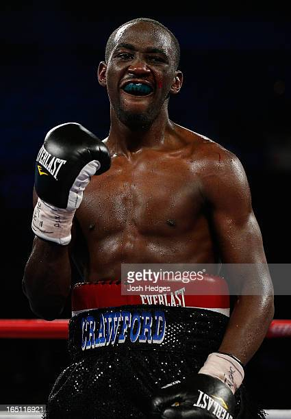 Terrence Crawford reacts after the conclusion of his junior welterweight bout against Bredis Prescott at the Mandalay Bay Events Center on March 30...