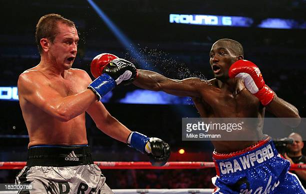 Terrence Crawford throws a punch against Andrey Klimov of Russia during aNABO Lightweight Title fight at Amway Center on October 5 2013 in Orlando...