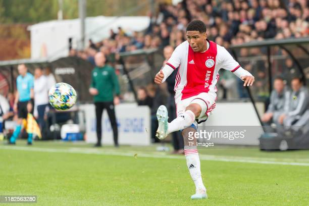 Terrence Douglas of Ajax Amsterdam U19 controls the ball during the UEFA Youth League match between AFC Ajax and Chelsea FC on October 23 2019 in...