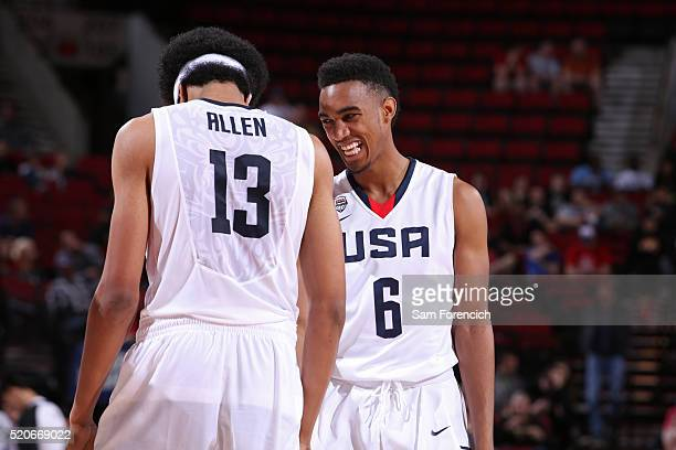 Terrence Ferguson and Jarrett Allen of the USA Junior Select Team talk against the World Select Team during the game on April 9 2016 at the MODA...