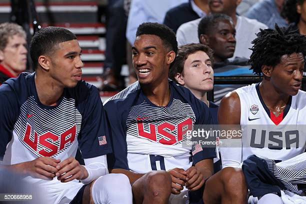 Terrence Ferguson of the USA Junior Select Team smiles on the bench during the game against the World Select Team on April 9 2016 at the MODA Center...
