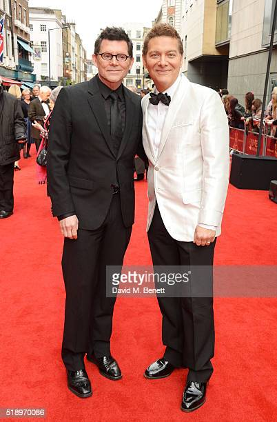 Terrence Flannery and Michael Feinstein arrive at The Olivier Awards with Mastercard at The Royal Opera House on April 3 2016 in London England