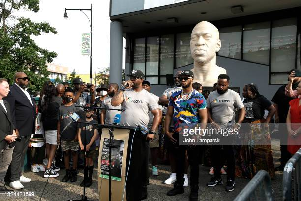 Terrence Floyd and Rapper Papoose attend the unveiling of George Floyd statue as New York City Honors Juneteenth Holiday on June 19, 2021 in the...