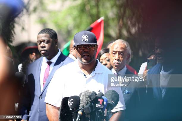Terrence Floyd, George Floyd's brother, center, speaks following the sentencing of former Minneapolis police office Derek Chauvin outside Hennepin...