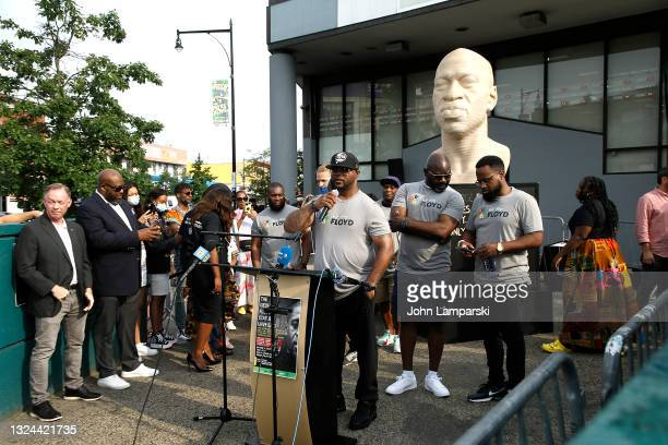 Terrence Floyd speaks during the unveiling of his brothers statue, George Floyd as New York City Honors Juneteenth Holiday on June 19, 2021 in the...