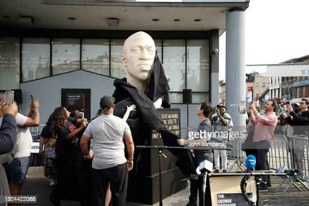Terrence Floyd watches the unveiling of his brothers statue, George Floyd, as New York City Honors Juneteenth Holiday on June 19, 2021 in the...