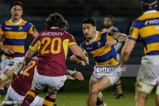 Terrence Hepetema avoiding the Stag's defence during the round six Mitre 10 Cup match between Bay of Plenty and Southland at Rotorua International...